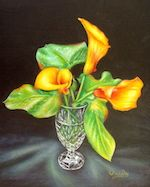 Flaming Calla Lilies & Crystal
