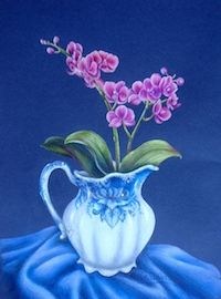 Orchids & Antique Pitcher