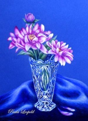 Pink Dahlia and Crystal Vase