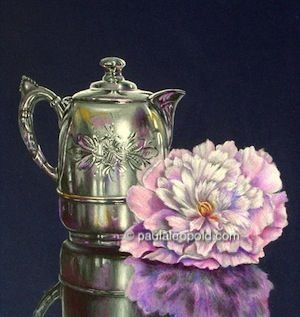 Etched Silver & Peony