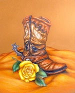 Leather Boot and Yellow Rose