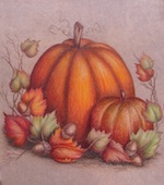 Pumpkin, Gourd, Fall Leaves & Acorns